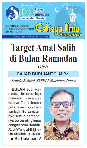 Tulisan Hari ke-18 Program Cahaya Ilmu Ramadhan tahun 2019