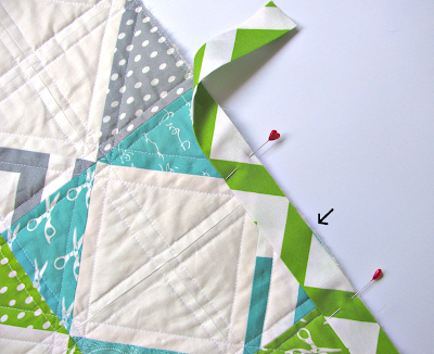 Pin the Prepared Binding Strips to the Quilt