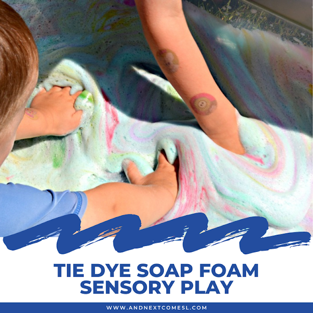 Tie dye rainbow soap foam bubbles sensory play for toddlers and preschoolers
