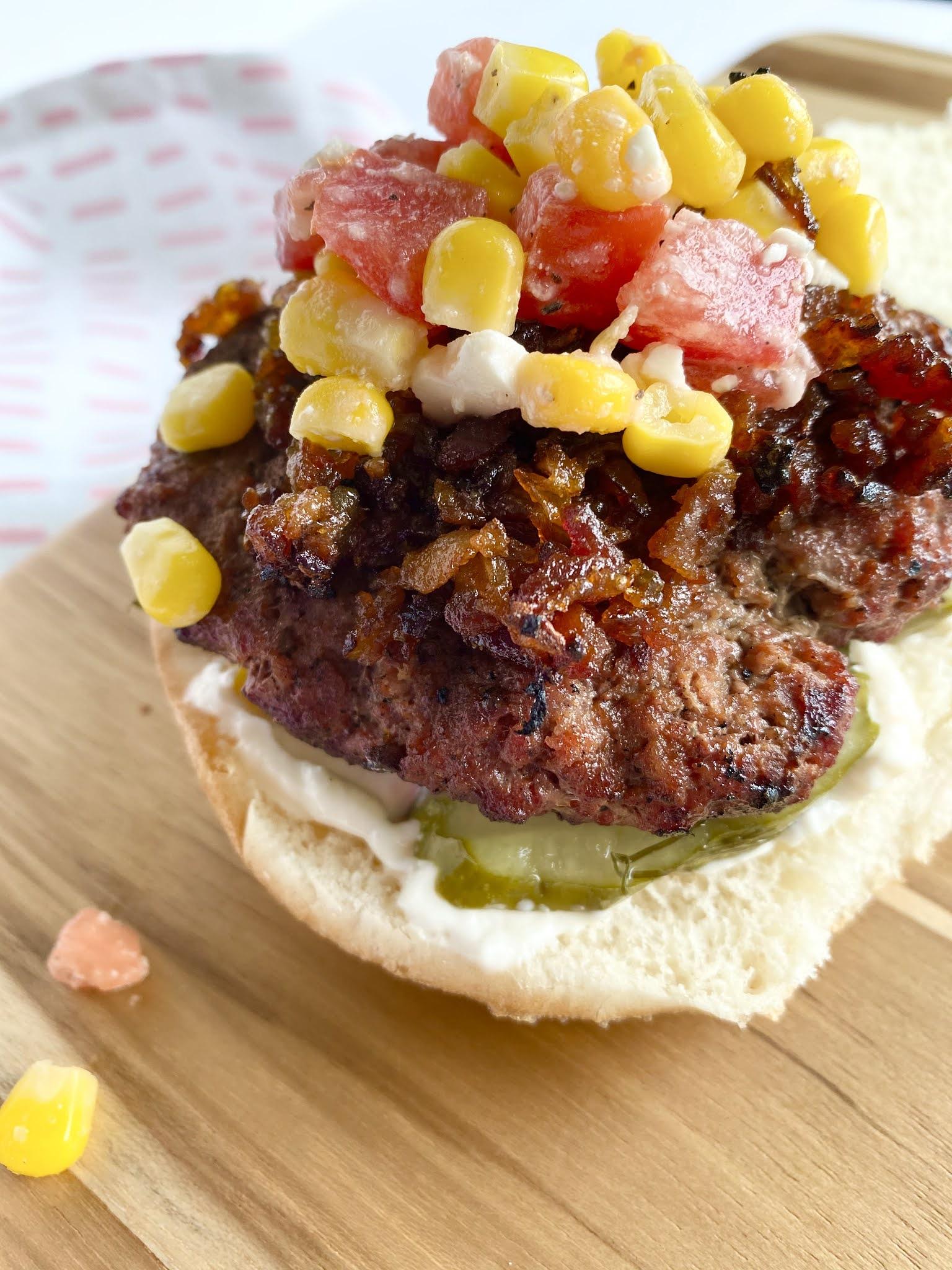 Sweet Bacon Jam & Corn Relish Burgers