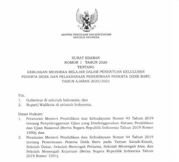 Surat Edaran Mendikbud Nomor 1 Tahun 2020 tentang Penentuan Kelulusan Peserta Didik dan PPDB 2020/2021