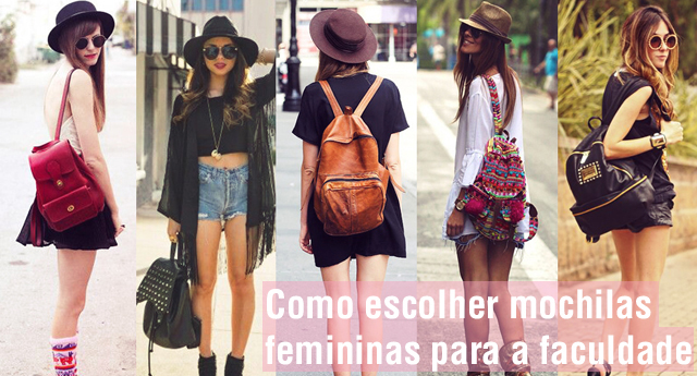 Mulheres usando modelos diversos de mochilas femininas com looks diferentes.