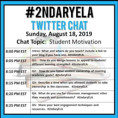 Join secondary English Language Arts teachers Sunday evenings at 8 pm EST on Twitter. This week's chat will be about student motivation.