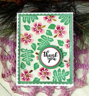 Hibiscus Thank You Card by Larissa Heskett for Newton's Nook Designs using Hibiscus Stencil Set, Peony Blooms Stamp Set, Frames & Flags Die Set, Frames Squared Die Set, Therm O Web, Deco Foil Flocking, Deco Foil, Metallix Gel, Glitz Glitter Gel  #newtonsnook #handmade #thermoweb #decofoil