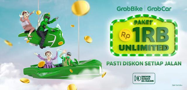 Promo Paket 1 Ribu Unlimited Grab Bisa Diskon 15% Untuk GrabBike & GrabCar