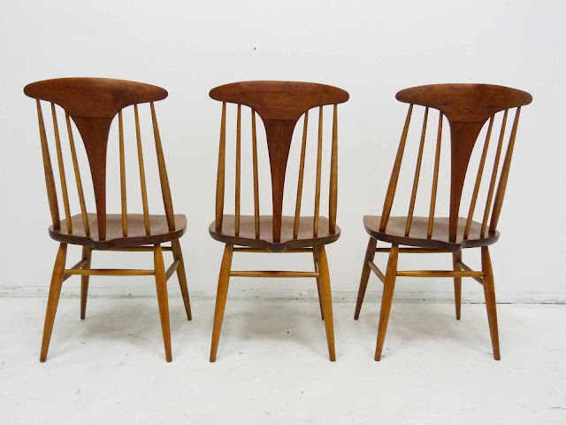 Heywood Wakefield Dowel High Back Mid-Century Doeskin Dining Chairs Set 2 Back