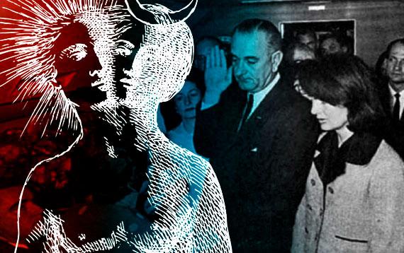 Lyndon B. Johnson juramentando para presidente con un diablo y un angel