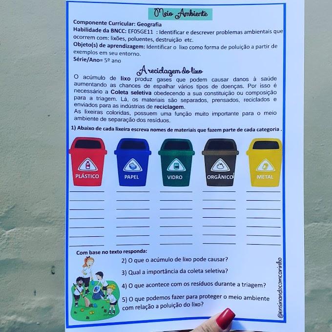 Atividade sobre meio ambiente coma temática da reciclagem do lixo