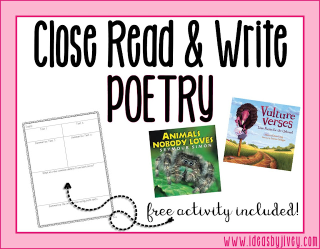 Ideas by Jivey shares ideas to use nonfiction texts to close read and practice paired texts, as well as work on writing poetry in upper elementary classrooms.