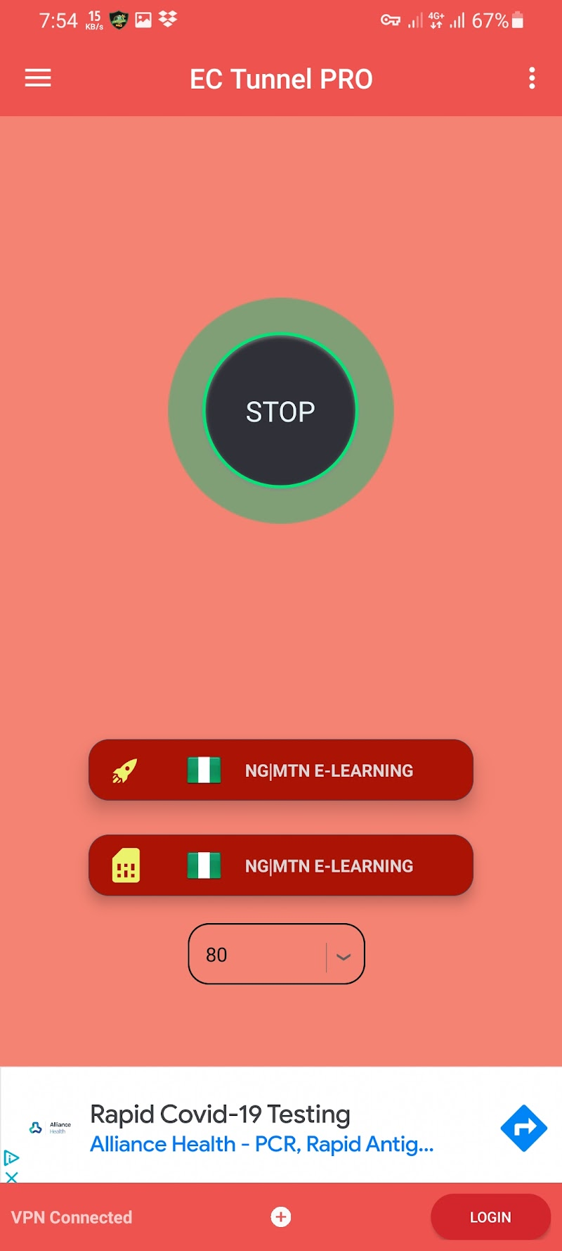 100% Working MTN NG Elearning 500MB Cheat For EC Tunnel PRO VPN