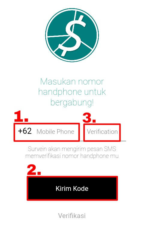 """silahkan mendaftar / membuat akun dengan cara memasukkan nomor handphone kemudian pilih """"Kirim Kode"""" dan masukkan kode yang telah dikirim melalui sms ke kolom """"Verification""""."""