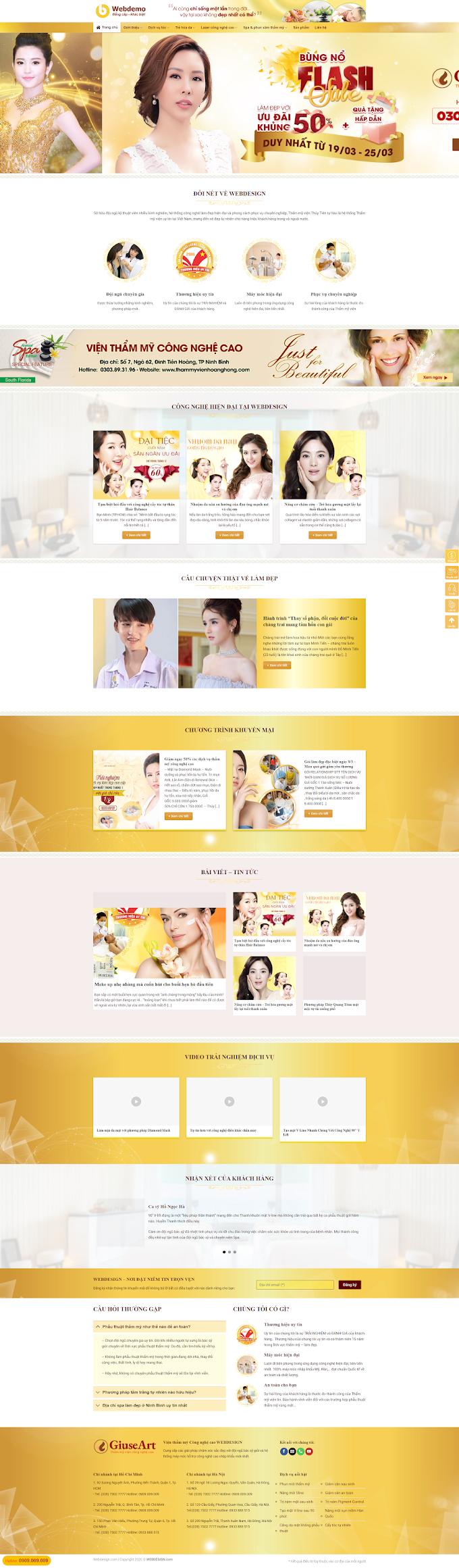 Mẫu website về Spa làm đẹp