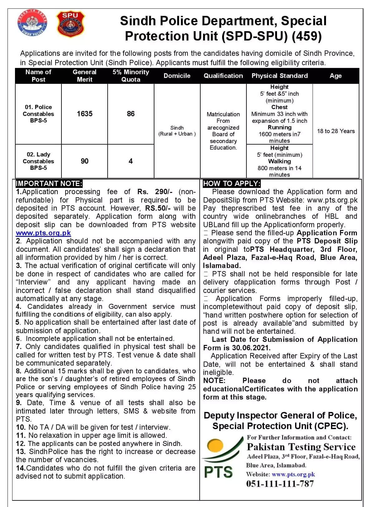Special Protection Unit SPU Sindh Police Jobs 2021 in Pakistan