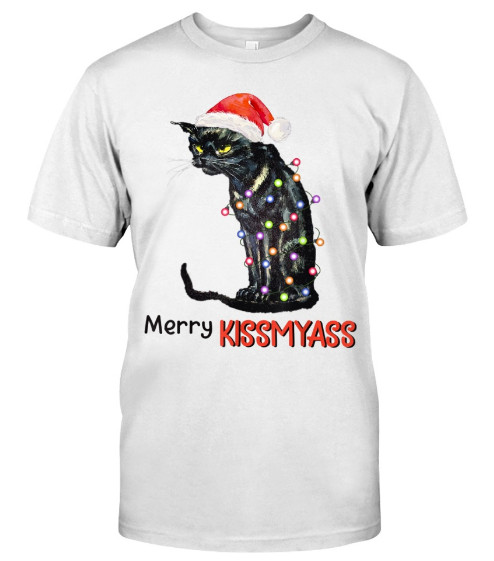 Merry Kissmyass Cat Santa Hat Christmas T Shirts Hoodie Sweatshirt