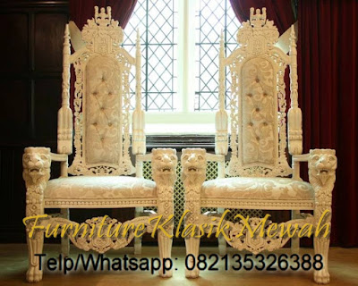 WHITE KING CHAIR FROM MAHOGANY-JEPARA EXPORT QUALITY-CLASSIC FURNITURE FRENCH
