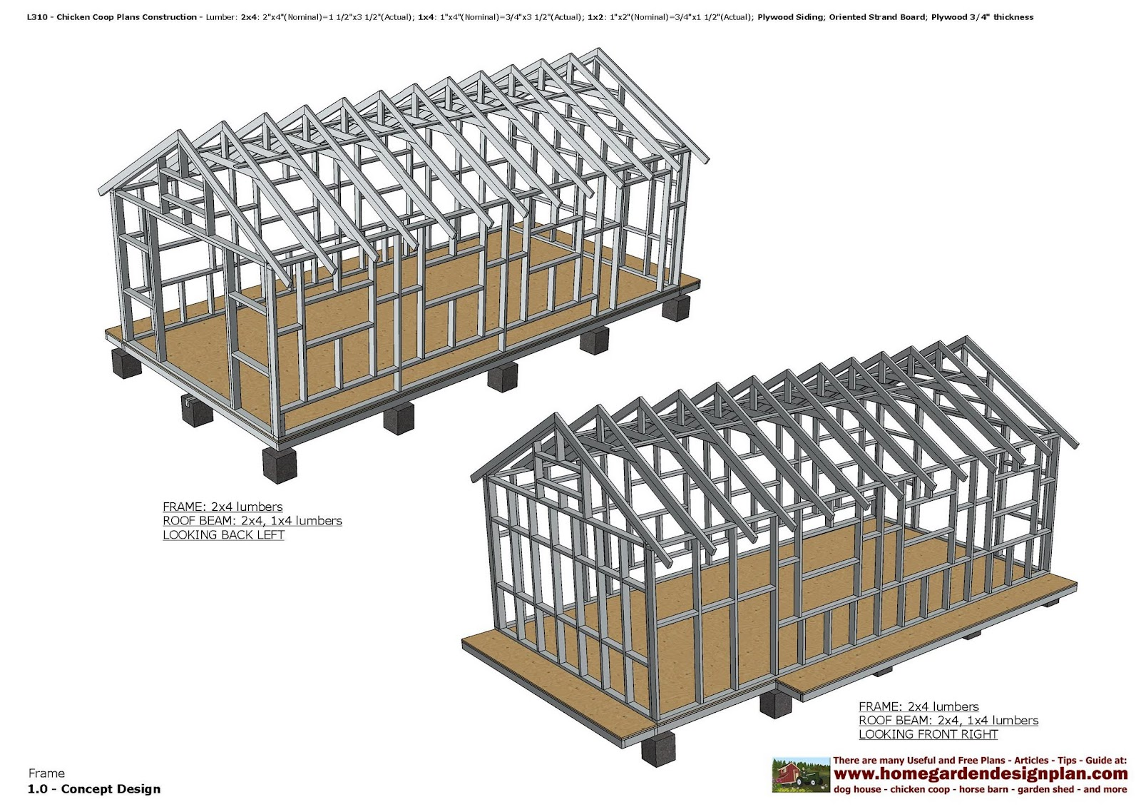 Home garden plans l310 chicken coop plans construction for A frame chicken