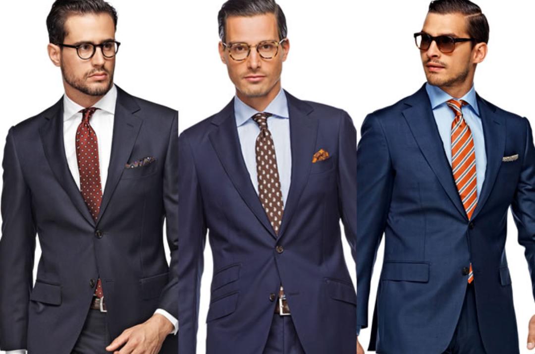 brown suit blue shirt what color tie
