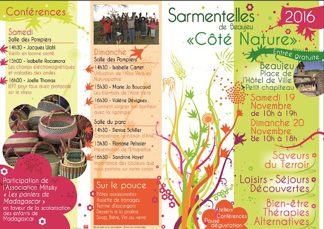 """Dépliant Sarmentelles de Beaujeu """"Côté Nature""""  saveurs du terroirs, loisirs, séjours découvertes, bien être, thérapies alternatives"""