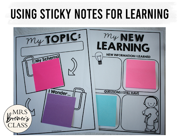 Sticky Note learning templates for research, projects, gathering information, and more in First Grade & Second Grade