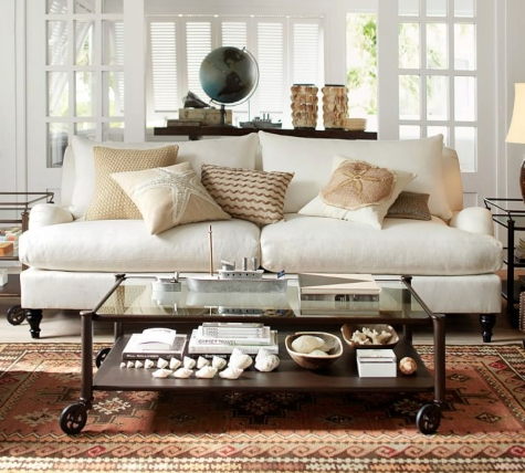 Pottery Barn Sofas for Coastal Style Living and Decorating