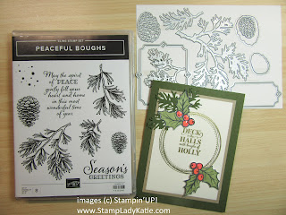Christmas Card using the pine bough dies from Stampin'UP!'s Beautiful Boughs Dies which are part of the Peaceful Boughs Bundle or buy the dies separately