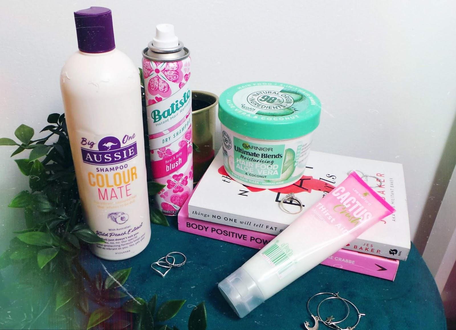 aussi colour shampoo, batitste dry shampoo, garnier aloe hair mask
