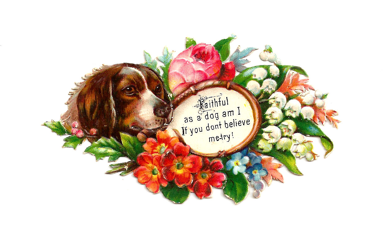 Antique Images: Free Dog Clip Art: Dog with Flowers on Victorian Scrap