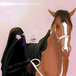 wanita cadar berkuda