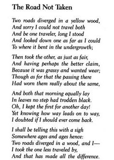 Books, Cats, Tea & Writing: A Road Not Taken: by- Robert Frost (POEM)