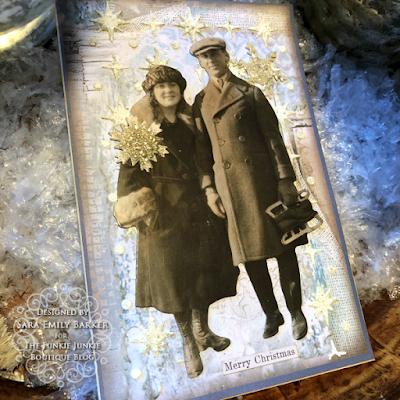 Sara Emily Barker https://sarascloset1.blogspot.com/2019/12/quick-christmas-cards-with-tim-holtz.html Mixed Media Christmas Cards #timholtz #stamperia 6