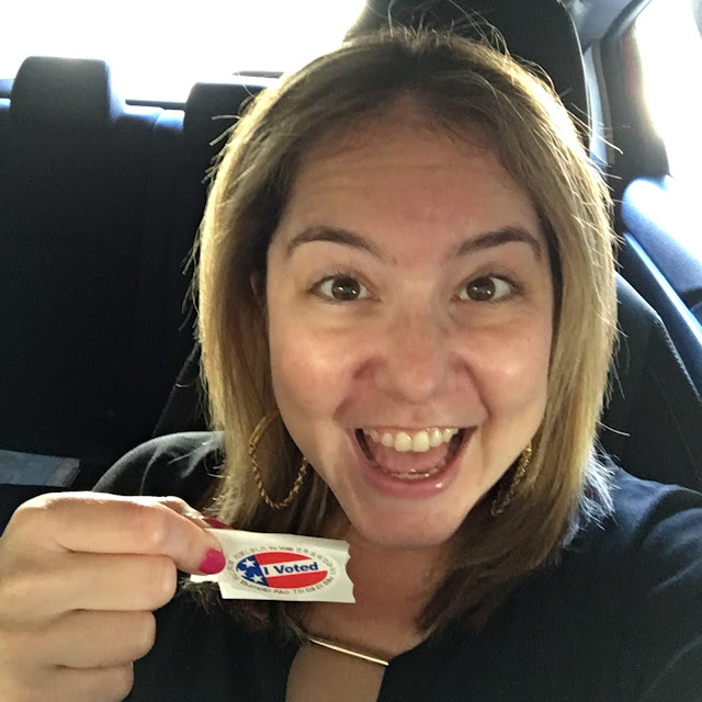 Jamie Allison Sanders, voting, November 2016, election day, I Voted sticker, Hillary Clinton