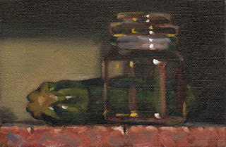 Still life oil painting of a zucchini beside a small glass jar.