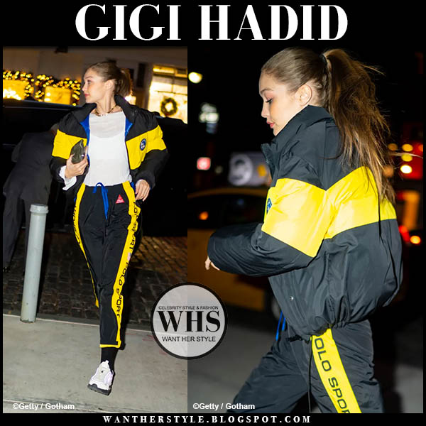 Gigi Hadid in black and yellow tracksuit from polo ralph lauren. Off duty outfit december 16