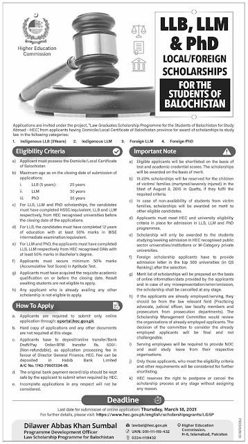 HEC LLB, LLM & PhD Scholarships for Students of Balochistan 2021 Apply Online Latest