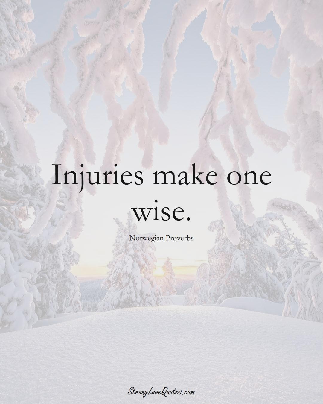 Injuries make one wise. (Norwegian Sayings);  #EuropeanSayings