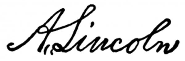 Firma del Presidente de los Estados Unidos Abraham Lincoln