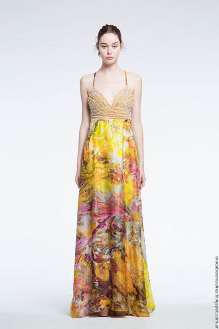 Moda primavera verano 2017 Natalia Antolin. Vestidos largos primavera verano 2017.
