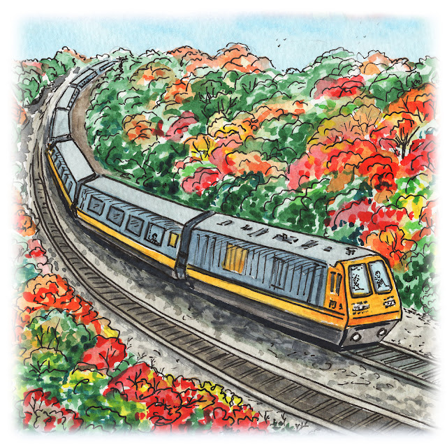 autumn fall landscape with trains