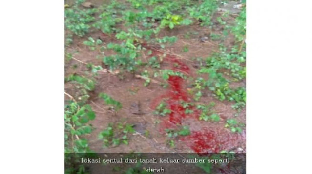 Bikin Merinding, Air Berwarna Merah Darah Muncul dari Tanah di Sukoharjo
