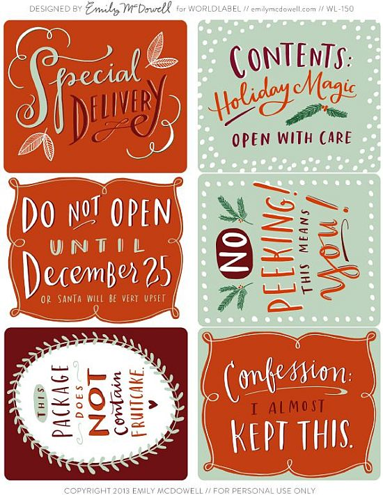 pretty mint and orange printable Christmas gift tags for free
