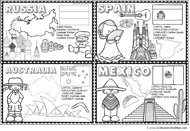countries coloring pages for homeschool, geography, preschool, kindergarten, 1st grade, 2nd grade