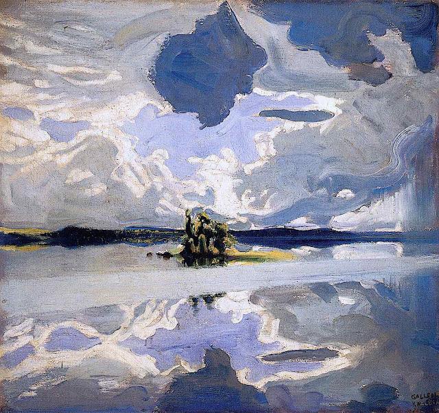 an Akseli Gallen Kallela painting of an island under a big sky