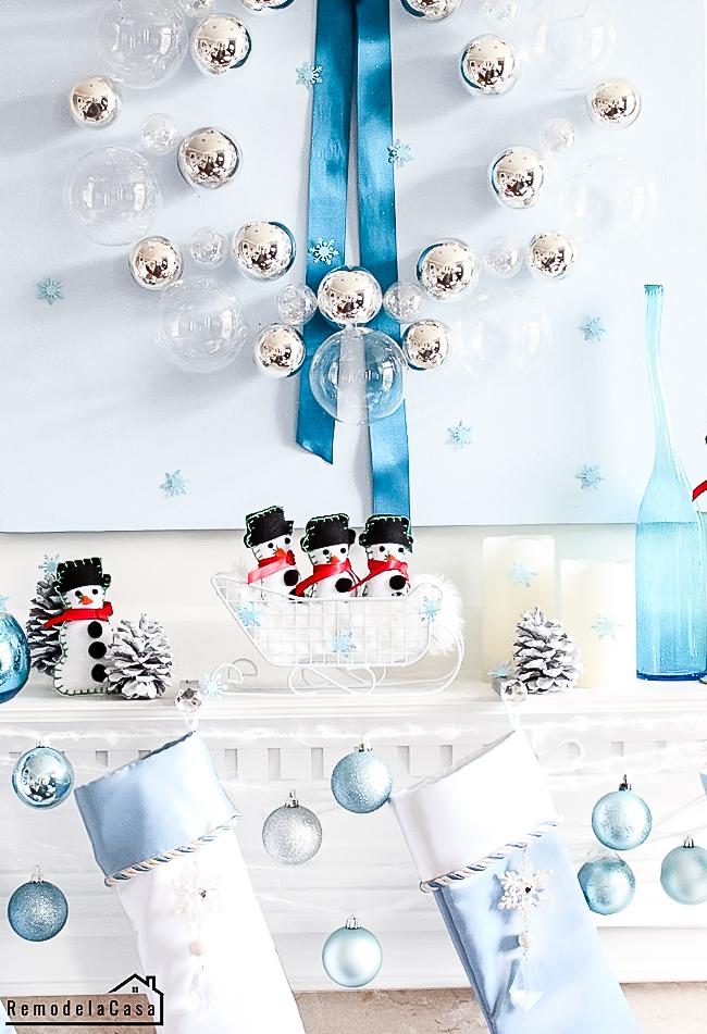 Blue Christmas mantel