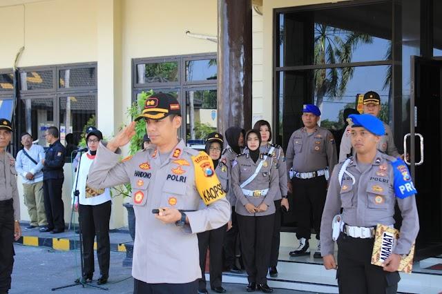 Personil Pengamanan Pilkades Serentak Sebanyak 19 Desa di Wilayah Kab.Nganjuk Hari ini Sudah Menempati TPS-TPS