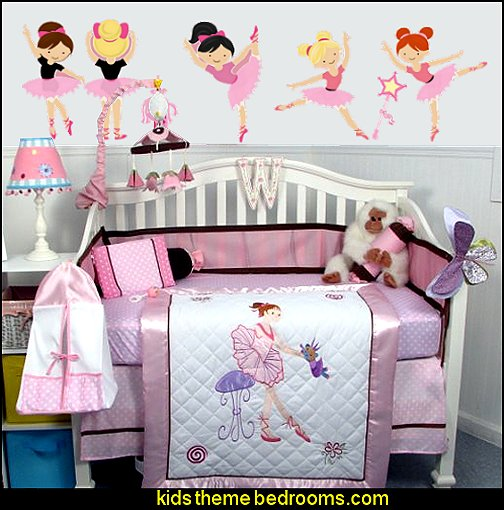 SoHo Ballet Dream Baby Crib Nursery Bedding Set  Ballerinas Ballet Removable Fabric Wall Decals