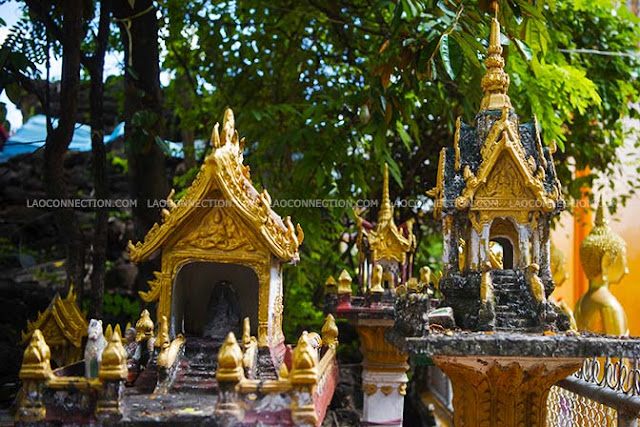 Examples of spirit houses found at Wat Simuang, Vientiane, Laos.