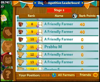 FarmVille 2 Country Escape, scoreboard, contest board with names