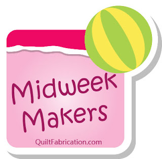 green and yellow beach ball on a pink background for Midweek Makers at QuiltFabrication