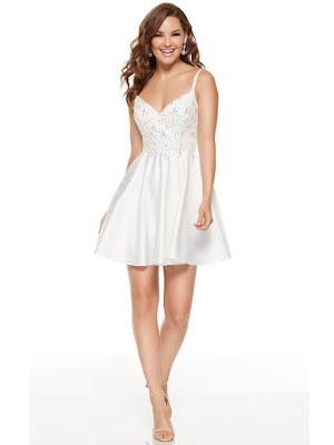 Sweetheart Alyce Paris Graduation Dress Diamond White Color