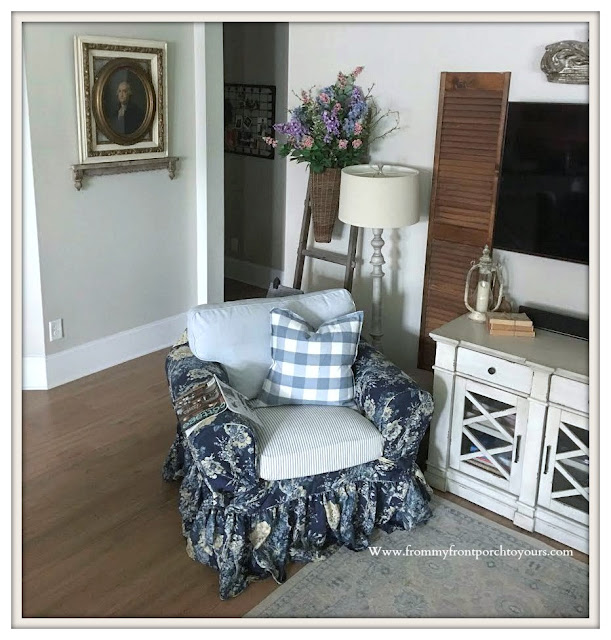 French-Country-Farmhouse-Living room Furniture & Decor- Blue & White-Vintage-Cottage-From My Front Porch To Yours